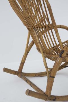 Italian School Italian Vintage Bamboo Rocking Chair 1950s - 2138840