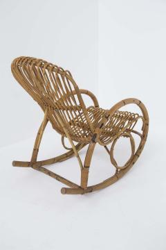 Italian School Italian Vintage Bamboo Rocking Chair 1950s - 2138841