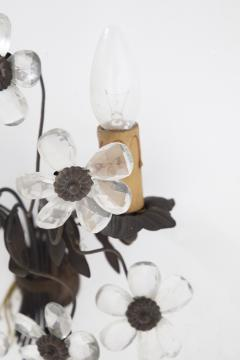 Italian School Pair of Antique Floral Sconces in Brass and Crystal Italy 1800 - 2080656
