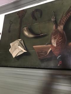 Italian School Very Unusual Large and Visual Trompe Loeil Game Painting on Board - 1313167