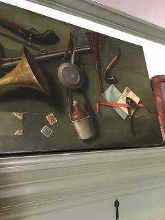 Italian School Very Unusual Large and Visual Trompe Loeil Game Painting on Board - 1313213