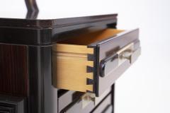 Italian School Vintage Backlit Nightstands in Wood Metal and Glass - 2054609