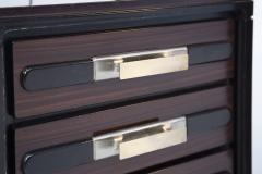 Italian School Vintage Backlit Nightstands in Wood Metal and Glass - 2054613