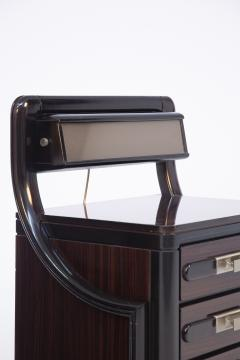 Italian School Vintage Backlit Nightstands in Wood Metal and Glass - 2054614