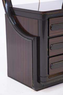 Italian School Vintage Backlit Nightstands in Wood Metal and Glass - 2054615