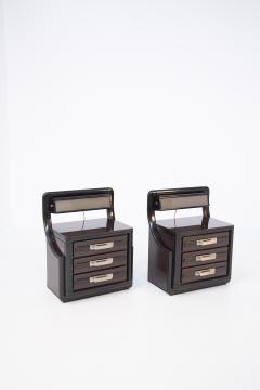 Italian School Vintage Backlit Nightstands in Wood Metal and Glass - 2054617
