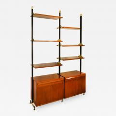 Italian School Wood And Metal Bookcase With Shelves And cabinets - 1335015
