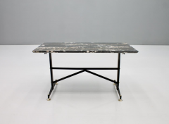 Italian Side Table with Marble Top Metal and Brass 1960s - 1378592