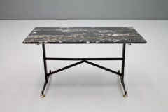 Italian Side Table with Marble Top Metal and Brass 1960s - 1378595