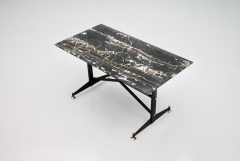 Italian Side Table with Marble Top Metal and Brass 1960s - 1378600