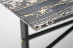Italian Side Table with Marble Top Metal and Brass 1960s - 1378601