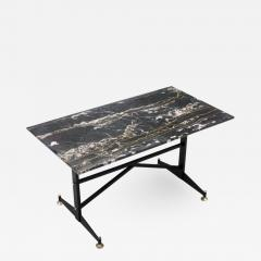 Italian Side Table with Marble Top Metal and Brass 1960s - 1379737