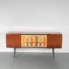 Italian Sideboard with Signed Painting on the Doors 1950 - 1540656