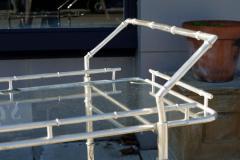 bamboo bar cart. Italian Silver Plate Over Brass Faux Bamboo Bar Cart - 57788