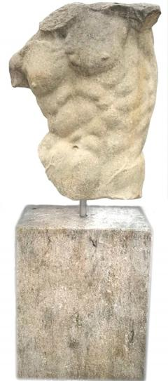 Italian Stone Sculpture of Classical Torso with Base - 1191312