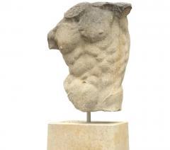 Italian Stone Sculpture of Classical Torso with Base - 1191320