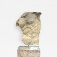 Italian Stone Sculpture of Classical Torso with Base - 1192325