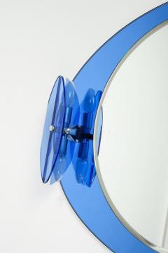 Italian Veca cobalt mirror with two lights 1970 - 1937923