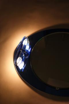 Italian Veca cobalt mirror with two lights 1970 - 1937928