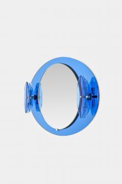 Italian Veca cobalt mirror with two lights 1970 - 1937931