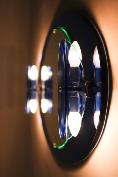 Italian Veca cobalt mirror with two lights 1970 - 1937934