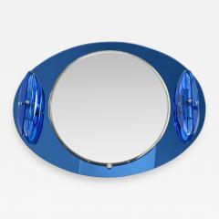 Italian Veca cobalt mirror with two lights 1970 - 1938380