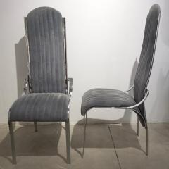 Italian Vintage Four Curved High Back Chrome Chairs in Blue Gray Stitch Fabric - 636440