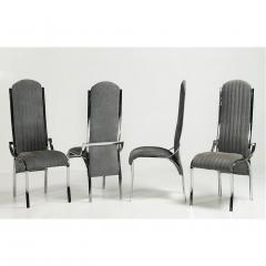 Italian Vintage Four Curved High Back Chrome Chairs in Blue Gray Stitch Fabric - 636441
