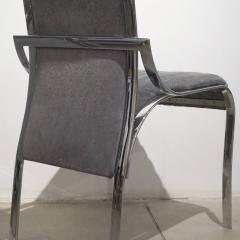 Italian Vintage Four Curved High Back Chrome Chairs in Blue Gray Stitch Fabric - 636442