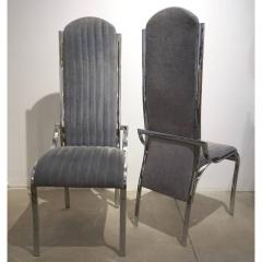 Italian Vintage Four Curved High Back Chrome Chairs in Blue Gray Stitch Fabric - 636443