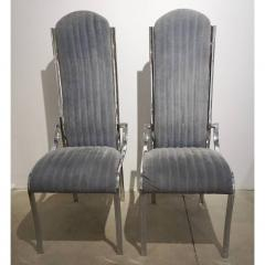 Italian Vintage Four Curved High Back Chrome Chairs in Blue Gray Stitch Fabric - 636444