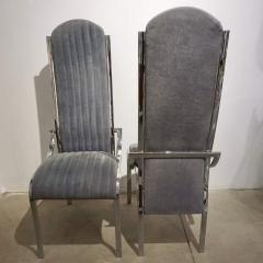 Italian Vintage Four Curved High Back Chrome Chairs in Blue Gray Stitch Fabric - 636445