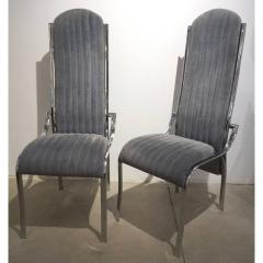 Italian Vintage Four Curved High Back Chrome Chairs in Blue Gray Stitch Fabric - 636446