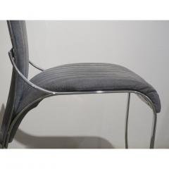 Italian Vintage Four Curved High Back Chrome Chairs in Blue Gray Stitch Fabric - 636447