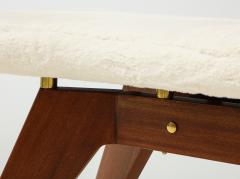 Italian Walnut and Brass Long Bench with Shaped Upholstered Seat - 1833557