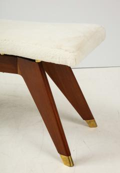 Italian Walnut and Brass Long Bench with Shaped Upholstered Seat - 1833561