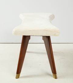 Italian Walnut and Brass Long Bench with Shaped Upholstered Seat - 1833563