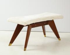 Italian Walnut and Brass Long Bench with Shaped Upholstered Seat - 1833564
