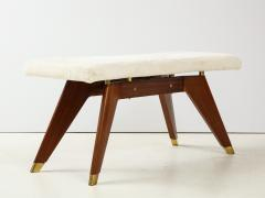 Italian Walnut and Brass Long Bench with Shaped Upholstered Seat - 1833566