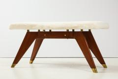 Italian Walnut and Brass Long Bench with Shaped Upholstered Seat - 1833568
