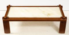 Italian Walnut and Marble Coffee Table 1970s - 1813082