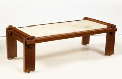 Italian Walnut and Marble Coffee Table 1970s - 1813087