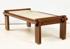Italian Walnut and Marble Coffee Table 1970s - 1813088