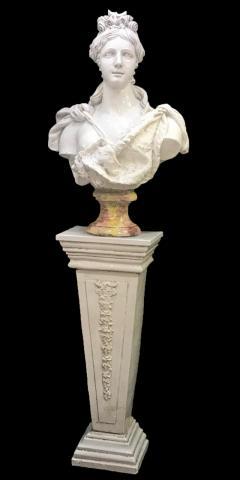 Italian White Lead Glazed Terracotta Sculpture of Selene Goddess of the Moon - 1903834