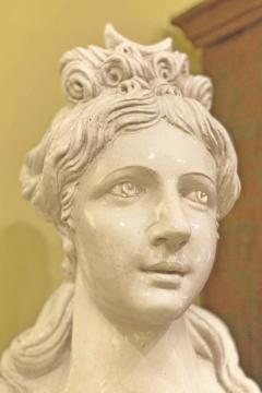 Italian White Lead Glazed Terracotta Sculpture of Selene Goddess of the Moon - 1903835