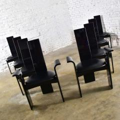 Italian black lacquered dining chairs attributed to pietro costantini set of 8 - 1881666