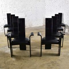 Italian black lacquered dining chairs attributed to pietro costantini set of 8 - 1881667