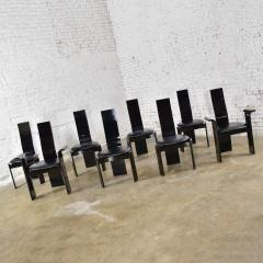 Italian black lacquered dining chairs attributed to pietro costantini set of 8 - 1881671