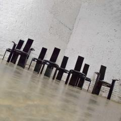 Italian black lacquered dining chairs attributed to pietro costantini set of 8 - 1881694