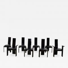 Italian black lacquered dining chairs attributed to pietro costantini set of 8 - 1883290